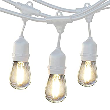 Brightech Ambience Pro LED Commercial Grade Outdoor Light Strand with Hanging Sockets - Dimmable 2 Watt Bulbs - 48 Ft Market Cafe Edison Vintage Bistro Weatherproof Strand for Porch Patio Garden -Wht