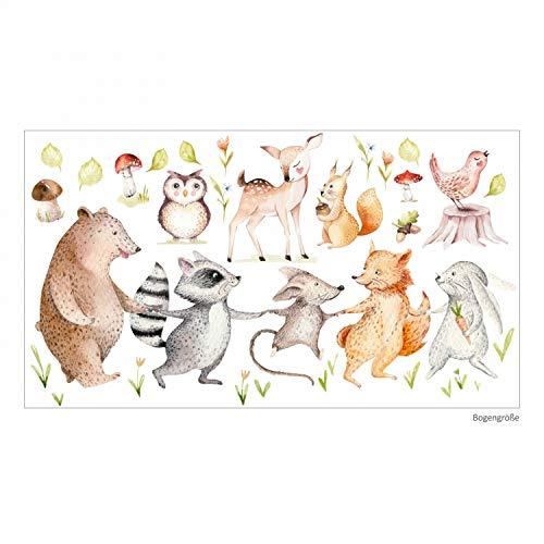 nikima Schönes für Kinder 160 Wandtattoo Waldfreunde Bär, Maus, Fuchs, Waschbär und Hase - in 6 Größen - Kinderzimmer Babyzimmer Wanddeko Wandbild - Größe 1000 x 560 mm