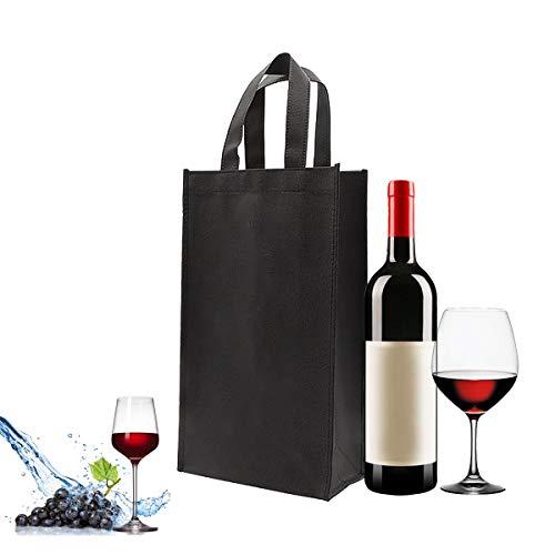 Bolsas de para Regalo de Vino,Bolsa de Almacenamiento para Botella de Vino,botella de vino bolsa con 4 Compartimentos,bolsos de la botella bolsos de regalo para vino,cava y champán Negro (2 Piezas)
