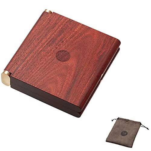 LANHA Madera de sándalo Caja de Cigarrillo, Robusto Mini Caja de Tabaco Interruptor magnético con Bolsa de Franela Pitilleras para 20 Cigarrillos de 85 mm, para Hombre y Mujer