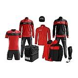 Zeus Marca Box Apollo - Kit completo formado por chándal de entrenamiento, chándal relax, chaleco, medias, calabazo, bolsa K-Way Kit de fútbol - Home Shop Italia (negro/rojo, L)