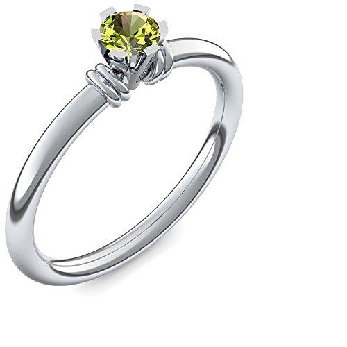 Silber Ring Peridot 925 + inkl. Luxusetui + Peridot Ring Silber Peridotring Silber (Silber 925) - Celebrity Star Amoonic Schmuck Größe 58 (18.5) UW03 SS925PEFA58