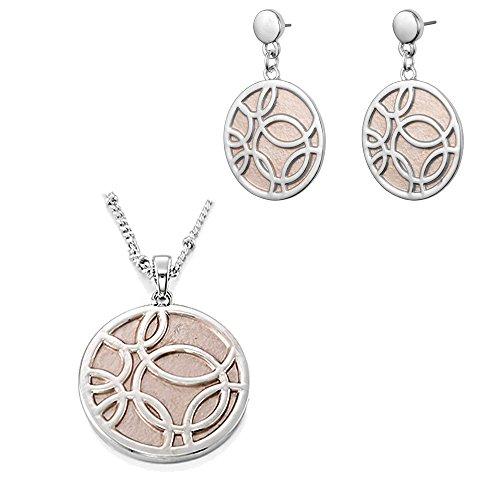 sincera da donna Set di gioielli con ciondolo argento Circles catene + Orecchini smalto grigio argento rodiato 10–17022–13–17022(Silver)