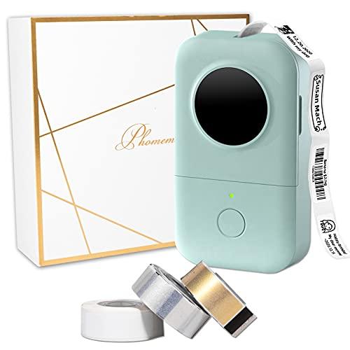 D30 Label Maker Aufkleber Maschine-mit 3 Rollen Thermopapier, Thermo Etikettendrucker Tragbarer Etikettendrucker, kompatibel mit Memoking/Phomemo D30 iPhone iPad Android für Business Home, Grün