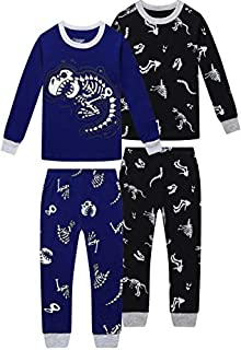 Image of Black 2 Pack Long Sleeve Dinosaur Pajama Sets for Boys - See More