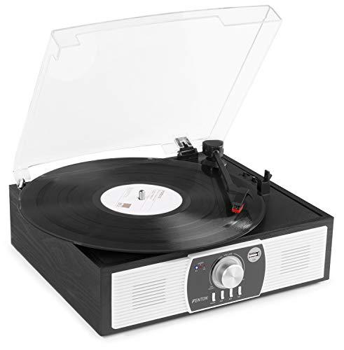 Fenton RP175B Retro Platenspeler met Speakers, Bluetooth en USB zwart