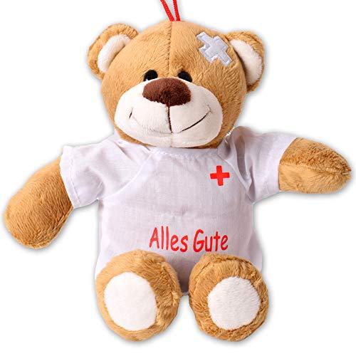 TE-Trend Plüsch Teddybär Gute Besserung Teddy Genesungsgeschenke Bär Glücksbringer Kuscheltier T-Shirt Alles Gute 24cm Braun