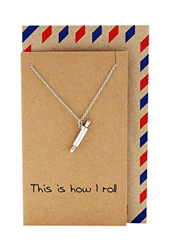 Quan Jewelry Rolling Pin Necklace, Gifts for Chefs, Gift for Baker Mom and Cooking Lovers. Tiny Kitchen Stainless Steel Pastry Maker, Gifts for Mom on Mother's Day & Christmas (See Me Rollin')