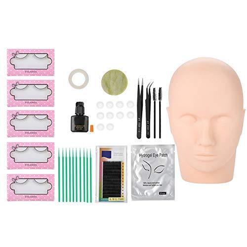 11 pcs/Set Eyelash Extension Kit, Professional False Eyelashes Extension Practice Exercise Set Head Model with Makeup Eyelash Grafting Training Tool Kit for Makeup Practice Eye Lashes Graft