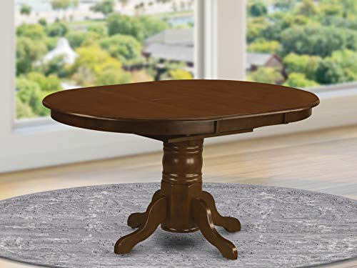 East West Furniture KET-ESP-TP Butterfly Leaf Oval Dining Table - Espresso Table Top and Espresso Finish Pedestal Legs Solid wood Frame Kitchen Table