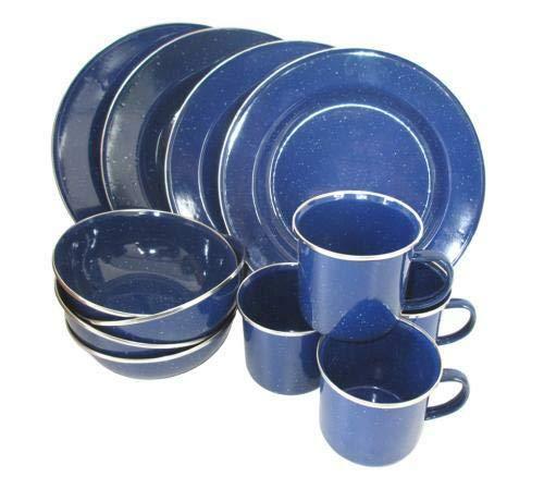 Western - Vajilla (12 Piezas, esmaltada), Color Azul para 4 Personas.