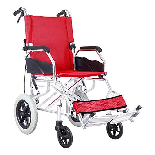 Einkaufstrolleys Rollstuhl Aluminiumlegierung Rollstuhl Klapprollstuhl Alter Trolley Scooter Kann 100 kg tragen (Color : Red, Size : 53 * 89 * 94cm)