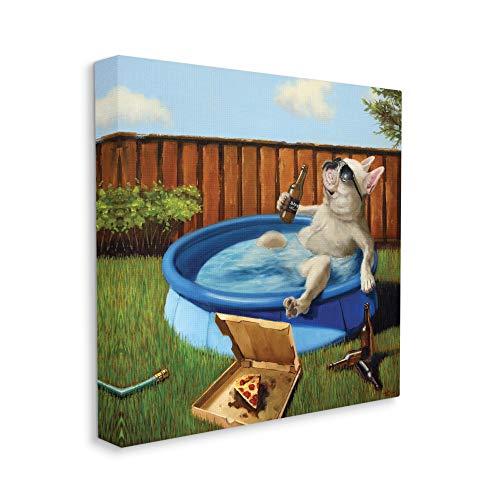 Stupell Industries French Bulldog Drinking Summer Pool Pet Humor, Designed by Lucia Heffernan Canvas Wall Art, 24 x 24, Beige