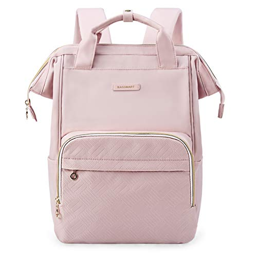 BAGSMART Laptop-Rucksack, 39,6 cm (15,6 Zoll), wasserabweisend, legerer Tagesrucksack, großer Arzt-Rucksack für Arbeit, Reisen, Business, Universität, Schule, Pink
