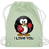 Shirtracer Valentinstag - Pinguin Rose Pralinen Geschenk - Unisize - Pastell Grün - WM110 - Turnbeutel und Stoffbeutel aus Bio-Baumwolle