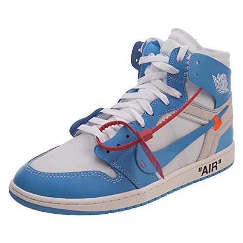 Nike Mens Air Jordan 1 X off White Nrg UNC White/Dark Powder Blue Leather Size 11.5