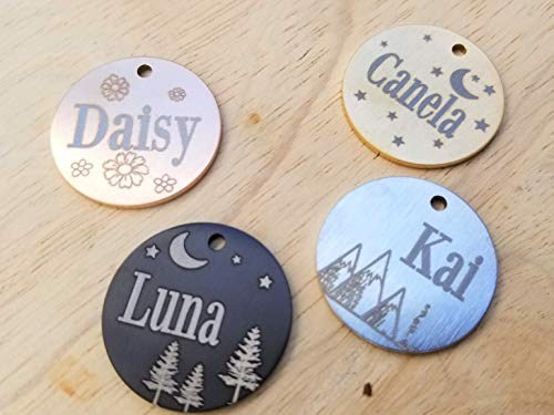 Jinglrr Personalized Dog Tags Cat Tags Pet ID Tags Stainless Steel Extremely Durable Made in USA (Round)
