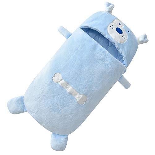 LUO'S Schlafsäcke Baby-Schlafsack Herbst und Winter aus Reiner Baumwolle, Neugeborenes Anti-Kick Quilt-Pyjamas Keep Warm, 0-12 Monate Unisex (Color : Blue)