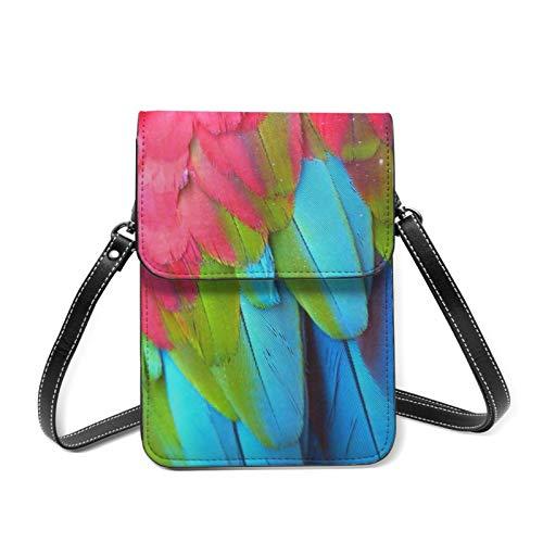 Bolso bandolera para teléfono móvil con diseño de jaula de pájaros y rosetas de piel sintética con funda para tarjetas, color Rosa, talla Talla única