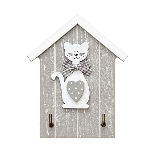 SPOTTED DOG GIFT COMPANY Râtelier à clé Porte-clés Tableau des clés en Bois fixé au Mur 2 Crochets Murale avec décoration Chat en Bois Gris. Cadeaux pour Les Amoureux de Chats