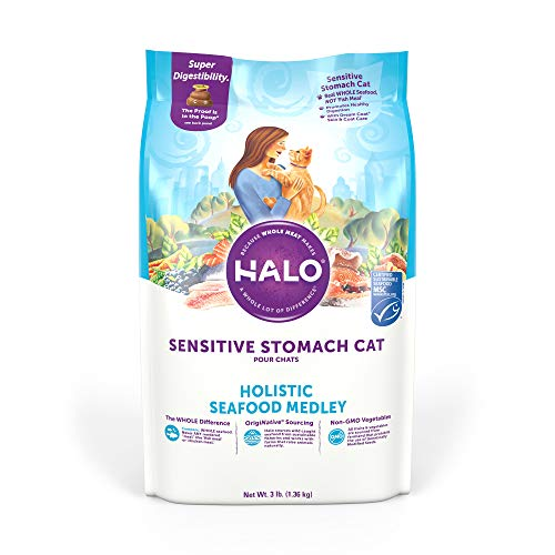 Halo Natural Dry Cat Food - Sensitive Stomach Recipe - Premium and Holistic Seafood Medley - 3 Pound Bag - Sustainably Sourced Adult Dry Cat Food - Real Whole Meat, Highly Digestible, Non-GMO