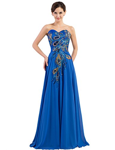 Blue Long Strapless Prom Dress