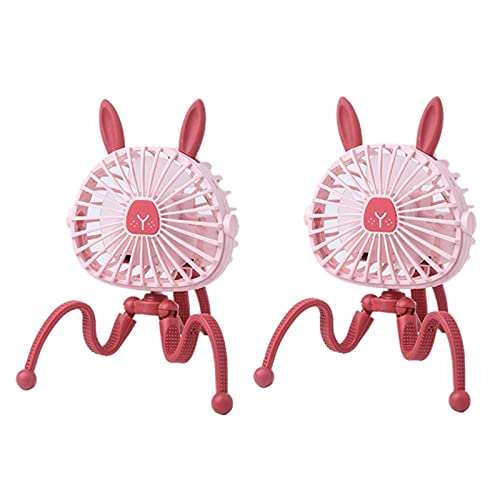 ZDDXY USB Desk Fan,Cute Cartoons Octopus Portable USB Fans Handheld Bracket Silent Fan Mini Stand Fans(2Pcs Or 3Pcs),Pink