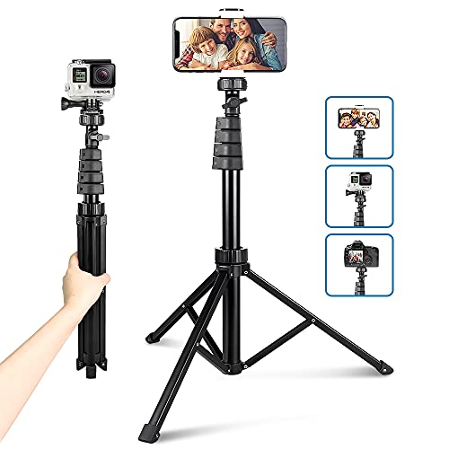 62' Phone Tripod Accessory Kits, Aureday Camera & Cell Phone Tripod Stand with Wireless Remote and...