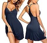 Ekouaer Slip Nightgown For Women Chemise Sleep Dress Halter Open Back Sexy Pajamas Lace Nightie (Navy Blue S)
