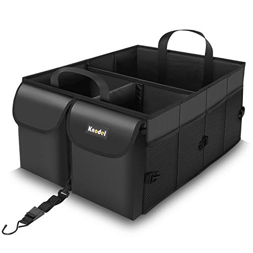 Knodel Auto-Kofferraum Organisator, zusammenklappbarer Auto-Kofferraum Organisator mit Gurten, Rutschfester Boden (Schwarz)