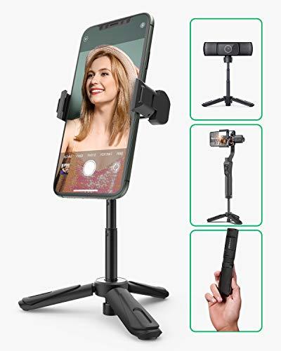 Phone Tripod, BlitzWolf Mini Tripod Stand Extendable Tabletop Desktop Tripod 360° Rotation for iPhone 11 Pro 11 XS Max XS XR X 8 7 6, Samsung S10 S9, Android Smartphone, Camera,Webcam(Black)