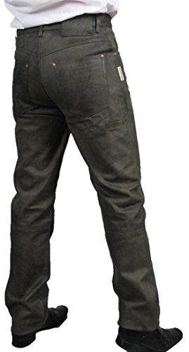 Fuente Jagd Lederhose antik, Lederhose Herren Tracht lang- Damen Lederhose lang- Hochwertige Trachten Lederhose lang in echt Leder Nubuk, Bayerische Lederhose in Grün (39, Olive)