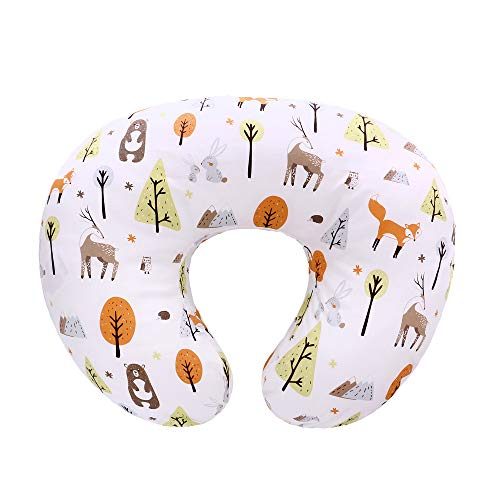 LAT Nursing Pillow Cover,100% Natural Cotton Breastfeeding Pillow Slipcover,Extra Soft and Snug on Baby Nursing Pillow(Fox Rabbit & Bear)