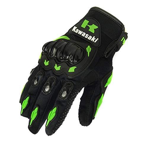 JYKJ Handschuhe for Motorrad 2019 heißen 1 Paar Kawasaki Art und Weise Neuen Vollfinger Motorrad-Handschuhe Motocross Luvas Guantes Moto Schutz Gears Glove (Color : Green, Size : XL)