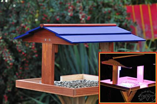 vogelfutterhaus,XXL,mit Licht,DACH BLAU,MIT Beleuchtung,LED-Licht / Vogelhaus,wetterfest IN DUNKELBRAUN,VIERDABLA-BEL-dbraun001 NEU PREMIUM Vogelhaus !!! KOMPLETT mit Ständer !!! wetterfest lasiert, Vogelfutterhaus MIT-Futterstation Farbe braun dunkelbraun schokobraun rustikal klassisch,Ausführung Naturholz MIT WETTERSCHUTZ-DACH für trockenes Futter