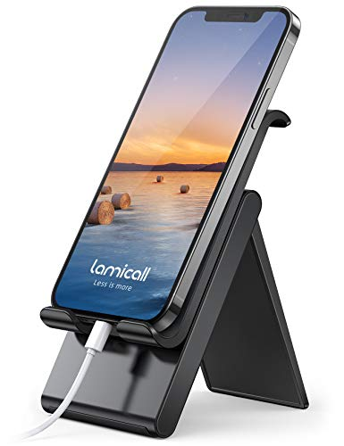Lamicall Adjustable Cell Phone Stand - Foldable Portable Holder Cradle for Desk, Desktop Charging Dock Compatible with Phone 12 Mini 11 Pro XS Max XR X 8 7 6S Plus Galaxy S10 S9 S8 Smartphones Black