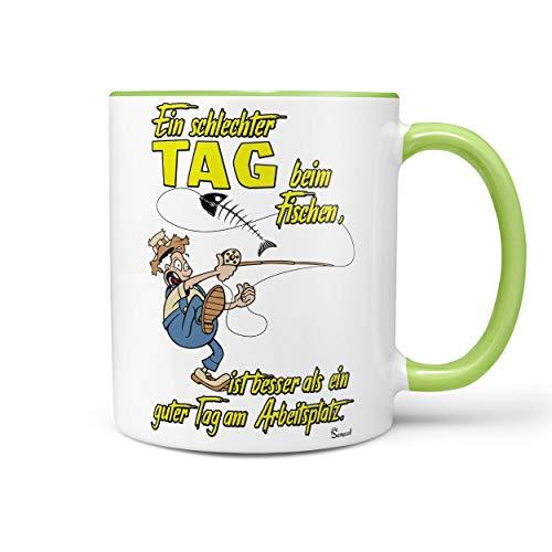 Sunnywall Angler Angel Fischer Premium Geschenk Tasse Keramik, Original Geschenkidee (19-Tasse Fischen Arbeit Grün)