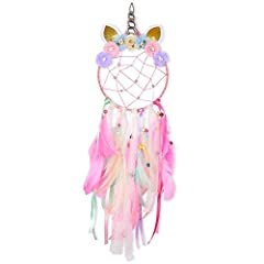 1. Unicorn Design: Unicorn dream horn with handmade flowers, strong cotton thread, shiny pearls net, unicorns are docile and peace-loving animals,pure and holy representatives. 2. All Handmade and DIY Fun: Decor includes colorful feathers, wooden bea...
