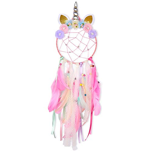 Beinou Unicorn Dream Catcher Colorful Feather Dream Catchers Handmade Flowers Dream Catchers Wall Hanging Dream Catcher for Girls Kids Nursery Bedroom Decoration Blessing Gift