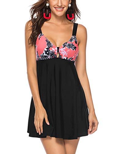 FeelinGirl Damen Neckholder Push Up Badekleid Figurformender Badeanzug mit Röckchen Bauchweg Einteiliger Badekleid