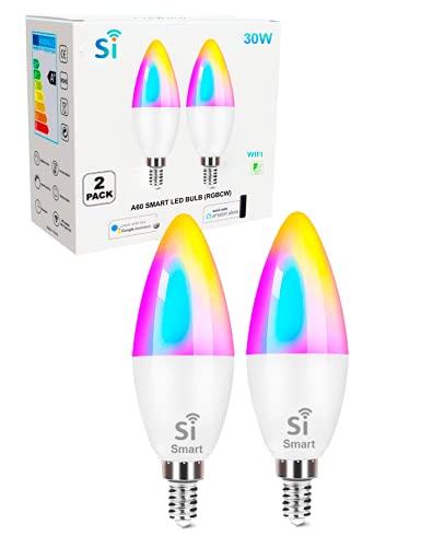 Bombilla inteligente led E14 pack 2, WIFI compatible Amazon Alexa,Google Home, Si Smart Bombilla Gu10 RGB wifi, regulable Multicolor, luces fría a cálidas, App Smart Life & Tuya Smart