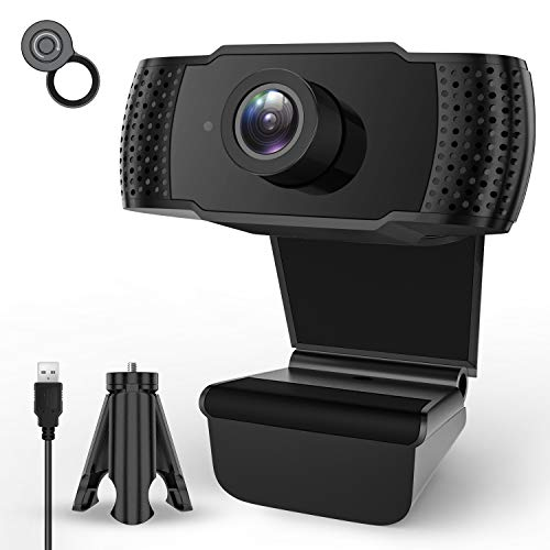 Webcam with Microphone,1080P HD Streaming Computer Webcam for PC Video Conferencing/Calling/Gaming,Laptop/Desktop Mac,Skype/YouTube/Zoom,USB Web Camera Built-in Mic, Flexible Rotatable Clip and Tripod