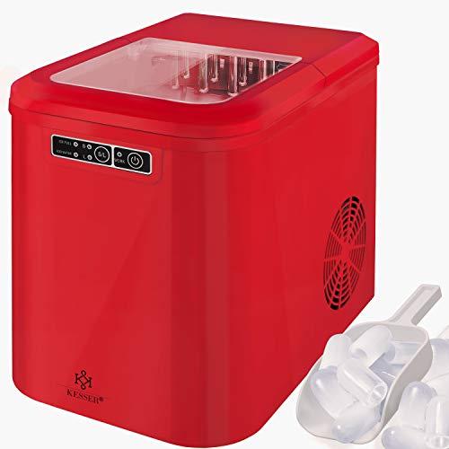 KESSER® Eiswürfelbereiter | Eiswürfelmaschine Edelstahl | Ice Maker | 12 kg 24 h | Zubereitung in 7 min | 2,2 Liter Wassertank | 2 Eiswürfel-Größen | LED-Display | Selbstreinigungsfunktion | Rot