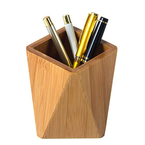 YOSCO Bamboo Wood Pen Holder Stand for Desk Geometric Pencil Cup Pot Cute Desktop Office Supplies for Kids Makeup Brushes Organizer Bamboo