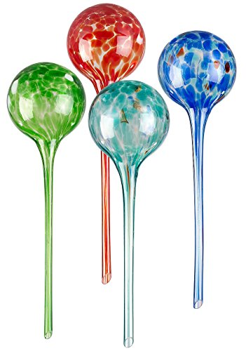 Royal Gardineer Bewässerung Kugel: 4er-Set Gießfrei-Bewässerungs-Kugeln aus Glas, bunt, Ø 8,5 cm (Wasserspender Blumen)