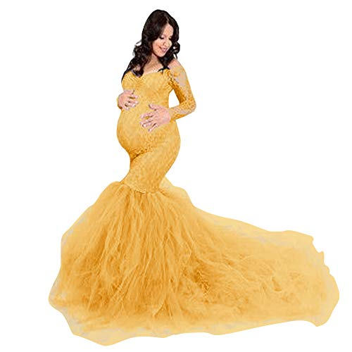 Women Off Shoulder Long Tulle Maternity Dress Long Sleeve V Neck Floral Lace Bodycon Mermaid Baby Shower Elegant Slim Fit Photography Gown Wedding Maxi Pregnancy Dress for Photo Shoot Yellow Medium