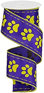 Paw Print Wired Edge Ribbon, 10 Yards (Purple, Gold Yellow, 2.5 Inches)