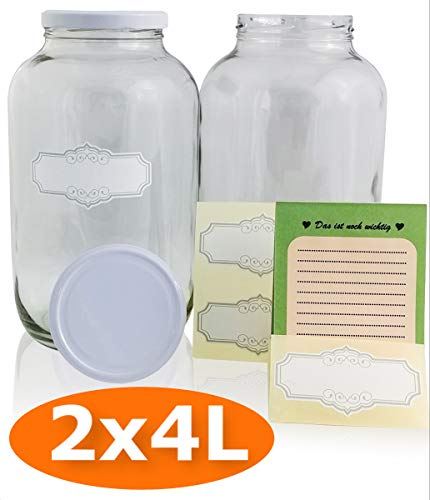 SMIJOS 4 Liter Glas Vorratsbehälter Set perfekt für Kombucha Pilz, Kefir Fermentation - Große Einmachgläser mit Deckel