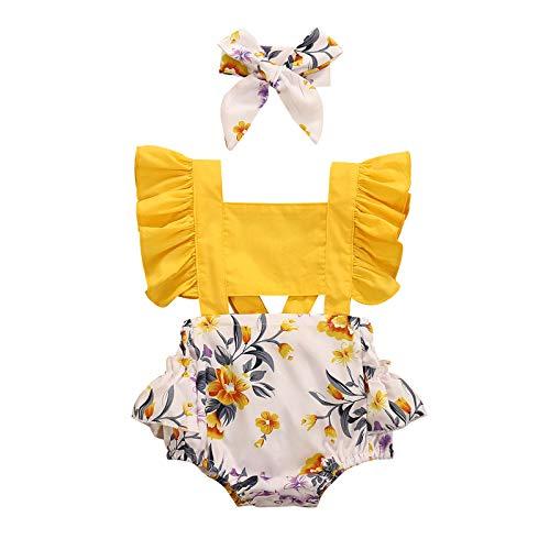 JERFER Neugeborenes Säugling Baby Mädchen Rüsche Blume Drucken Strampler Bodysuit Kleider A371