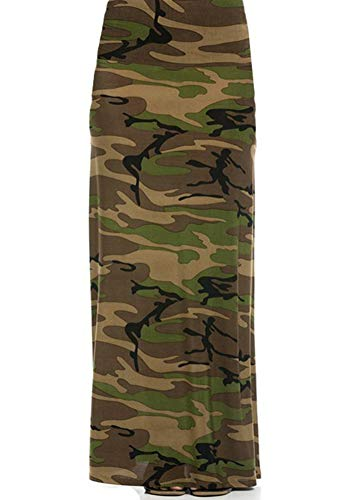 2LUV Women's Multicolored Mix Print Floor Length Maxi Skirt Army-Camo S (ASK-9001PS-F43)
